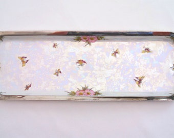 RS Tillowitz hand painted porcelain dresser tray, 16 inches long