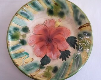 Kani of Hawaii large ceramic platter, Hibiscus flower