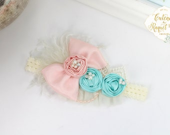 Allie Baby Headband - Couture Headband - Photo Prop - Birthday Headband - Ivory Headband - Girls Headband - Pink Headband - Newborn Headband