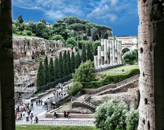 Rome Italy, Venus temple from inside Coliseum color OR black & white fine art photo print, wall art decor, ready to hang,architecture print