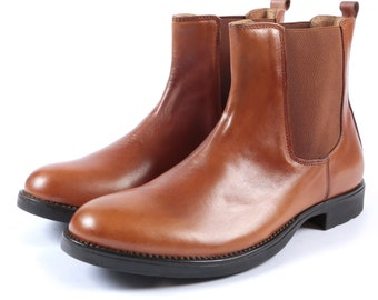 Aspele Mens Tan Leather Chelsea Ankle Boots