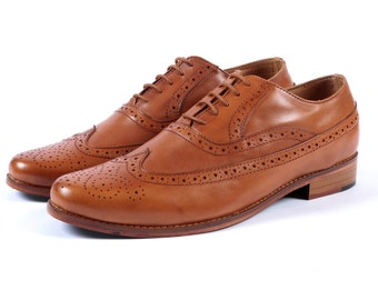 Aspele Mens Tan Leather Brogues shoes-Leather Sole