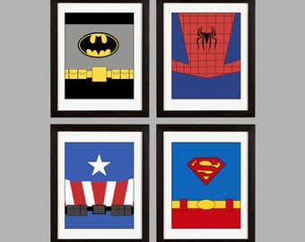 Super Heroes Wall Art. Set of (4) Prints. Batman. Superman. Spider-Man. Captain America. Party. Nursery. Kids Room  Shipped to You