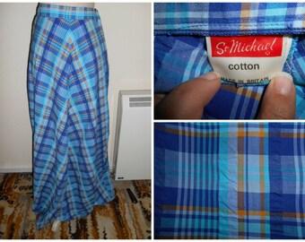 Vintage Retro 1970s Hippie Boho Festival Blue Stripe Multi Coloured Plaid Style Cotton Maxi Skirt By St Michael UK Size 8 10 (12)