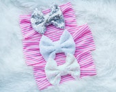Pink and White Striped Sequin Bow