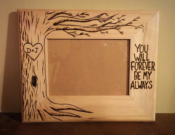Tree Picture Frame Wood Burned Heart Initials Engraved