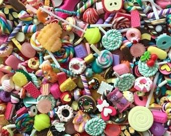 50 pcs kawaii decoden cabochon mix lot - resin flatback cabochon mix - candy cabochons - assorted decoden cabochon mix