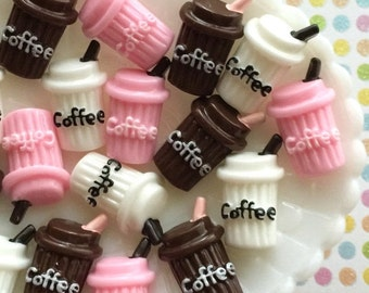 SALE - Coffee Cup Kawaii Resin Cabochons - Flatback Coffee Cup Embellishments