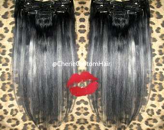 Balayage dip dye 8a remy human double weft clip in hair exclusive balayage dip dye 8a remy human double weft clip in hair extensions colour 1b pmusecretfo Gallery