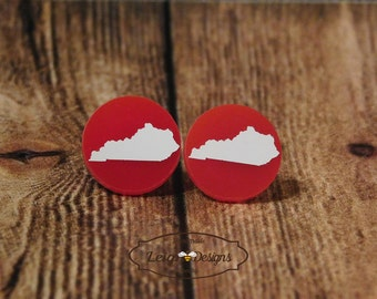 Kentucky State Earrings, Red Acrylic and White Kentucky State Silhouette Earrings, Home State Jewelry, Kentucky Studs