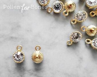 4pcs ∙ Gold Rhinestone Pendants Dainty Crystal Charms Tiny Diamanté Earrings Jewelry Supplies