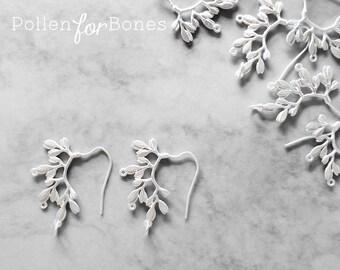 2pcs ∙ Silver Leaf Earring Dangle Branch Jewelry Supplies