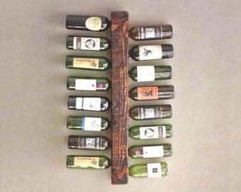 Wall Mounted Wood Wine Rack - Rustic 16-Bottle Vertical Wine Display