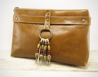 Camel Leather Clutch with Beaded Fringe - 100% Leather