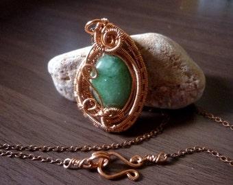 Copper wire wrapped green aventurine necklace pendant