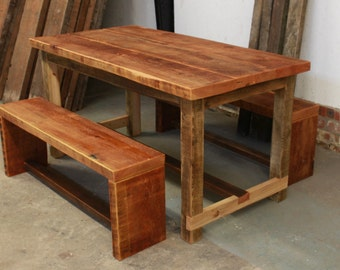 Rustic Reclaimed Wood Dining Table & Benches