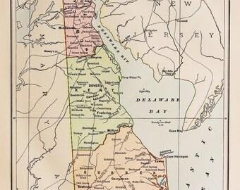 Vintage Delaware Map Etsy - Delaware map usa