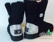 Blinged Out Women  39 s Bailey Button Ugg Boots w  Swarovski Crystals 7b9f251af