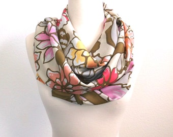 Silk Scarf, Floral scarf, Women's Accessories, Flowers, Silk, flowers, Infinity Scarf, Circle Scarf, gift for her