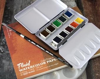 Beginner to Intermediate / Gift Set - Featuring Daniel Smith Half Pan Watercolors