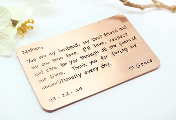 Gift For My Husband On Our Wedding Day: Copper Wallet Insert Card Customized Personal Messages