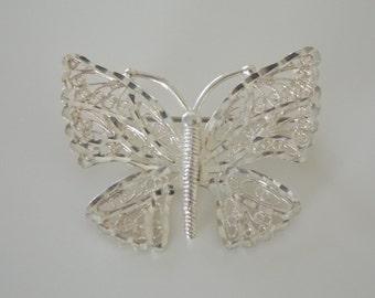 Sterling Silver Butterfly Brooch - Filigree - Sterling Silver