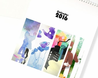 Wall Calendar 2016... calendar-wall calendar-2016-new year-A4-handmade-paper goods-2016, 8.5x12 -illustrations-watercolor-montly