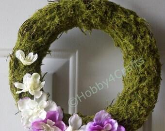 Rustic Wreath Moss Rattan Twig Wreath with White Purple Wildflowers