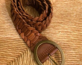 Vintage Leather Belt, Brown Leather Belt, Weaved Belt, Women's Belts, Leather Belts, Vintage Belts, Saddle Belts, Brass Buckle Belt