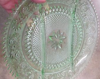 Vintage Light Green Large Indiana Tiara Sandwich Glass Tray