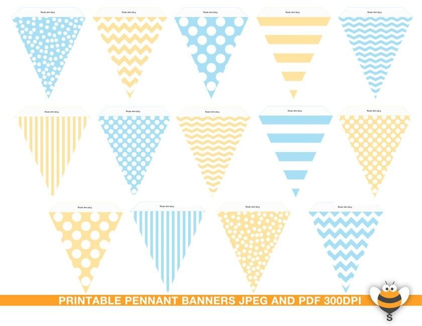 Guirnalda de color azul claro y amarillo banderines banderas for Guirnaldas para imprimir