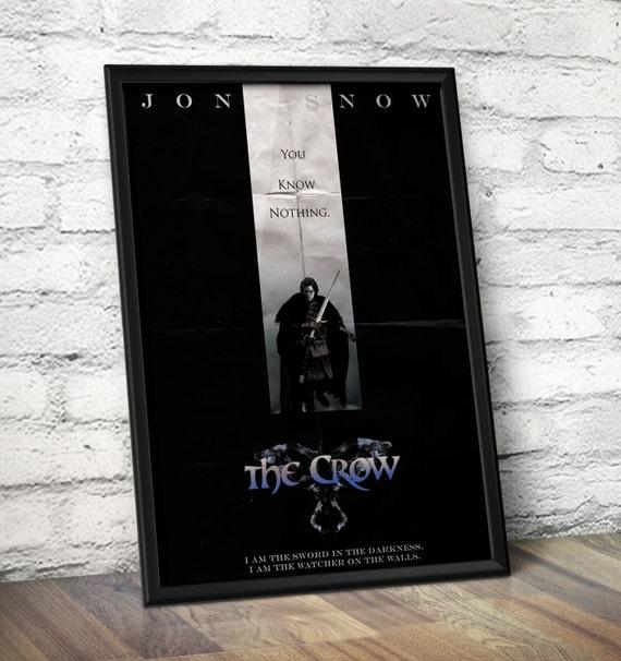 Jon Snow Inspired 'The Crow' Poster - Jon Snow Minimalist Poster -The Crow Alternative Movie Poster