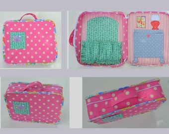 Carry along toy, Fabric doll case, Doll house bag, Quiet game, Busy toy, Toy with clothes, Dress up toy, Toy play set, Stuffed gift, Toys