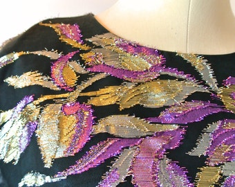 1980's Skater Black Top with Metallic Floral Print