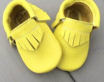 Lemon Yellow Leather Baby Toddler Moccasins Moccs