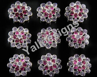 Set of 10pcs 21mm Metal Spark Rhinestone Flower Brooch-Flower Crystal Style- Children Headbands or Hair Clips-YTB64