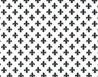 Petite Fleur De Lis ebony black and white by Michael Miller fabrics, fluer de lis black and white fabric by the yard, black and white fabric