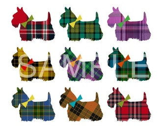 Fabric Art Quilt Block *Pretty in Plaid Scottie* 16-103 FREE SHIPPING