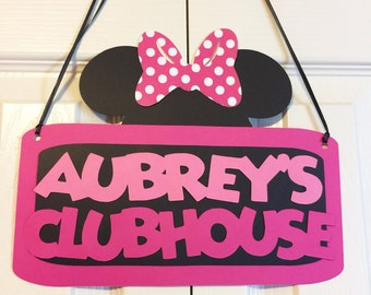 Minnie Mouse Clubhouse Door Sign - Minnie Mouse Birthday Party Decorations - Door Sign - Welcome Party Sign - Minnie Mouse Party