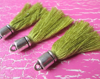 3 trailer * tassels with Cap * tassel * cotton * 35 mm olive