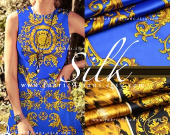 Art Nouveau Fabric Royal Blue Gold Silk Fabric by the yard