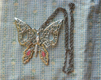 Vintage • Silver Butterfly Necklace | Jewelry Rhinestone Rhinestones  | Made in USA