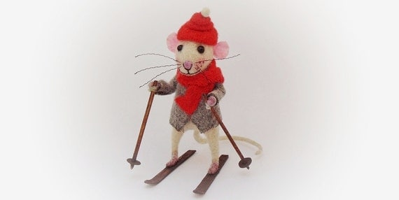 Felt Mouse, Art doll, Animal Sculpture, Collectible Doll, Christmas gift, Skiing doll, Mouse doll, Funny Gift. Rat/Mouse Miniature