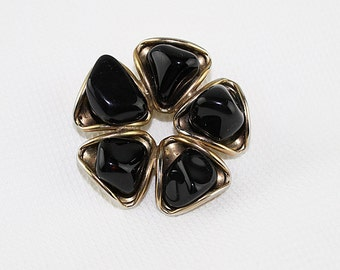 Black Stone and Gold Flower Brooch, J156
