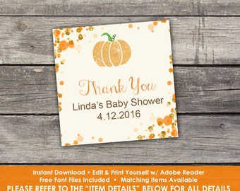 "Pumpkin Thank You Tags - Edit Yourself - 2"" Thank You Tags for Baby Shower - Little Pumpkin Thank You Tags - Baby-248"
