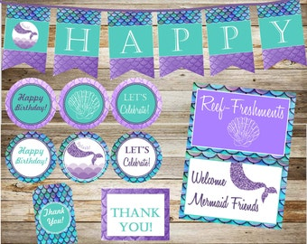 Mermaid Party Package, Glitter Purple and Black, Instant download, under the sea, party pack, printable party package, mermaid, DIY, SALE