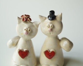 love Wedding Cake Topper, Cat Cake Topper, Ceramic Cake Topper by Her Moments