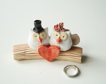 Rustic Wedding Cake topper - Owl Couple, Cake topper for weddings, Rustic Wedding Cake Topper