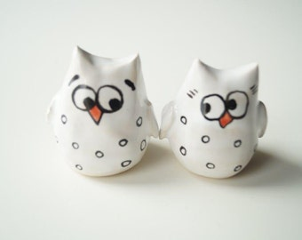 Owl Wedding Cake Topper, Unique Wedding Cake Topper,  Ceramic Cake Topper, Wedding Cake Decor, White Owl Ceramic Cake Topper by Her Moments