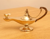 Vintage brass very small Aladdin oil lamp || simple design || With a string